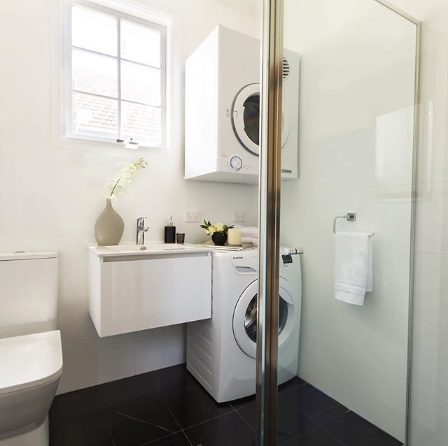 Laundry and bathroom renovations @basebuilding_projects  #laundry #bathroom #blackandwhite #renovation #sydney  www.basebuilding.com.au