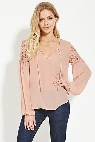 Contemporary Crochet-Panel Top | Forever 21 - 2000151294