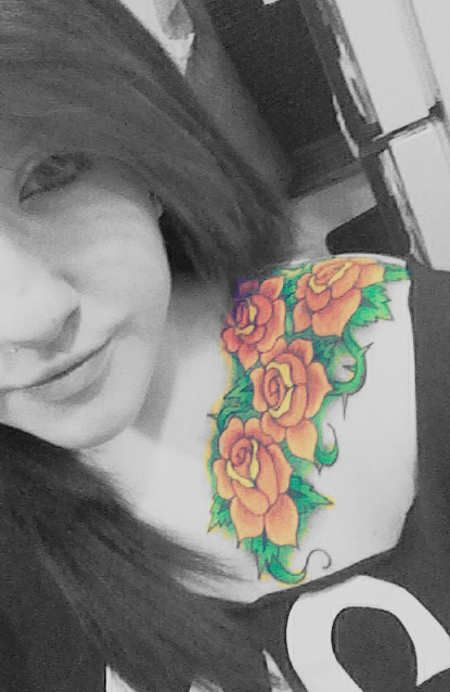 Rose Tattoo # 60 - Chic looking gorgeous with her yellow roses tattoos on front shoulder. Is not?