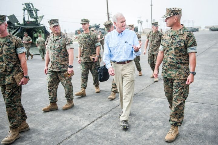 Secretary of the Navy Richard Spencer meets with the 3rd Assault Amphibian Battalion during his first visit to Camp Pendleton since taking over the Secretary role on Wednesday, August 30, 2017.  Nick Agro/The Orange County Register (TNS)