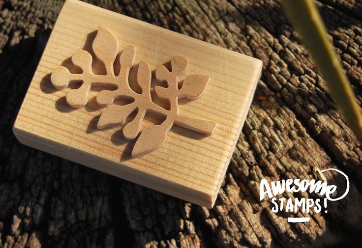 Seaweed 2 - Carving Birch + handle Spruce stamp size: 6x4 cm. • •• Shipments in Europe •• •