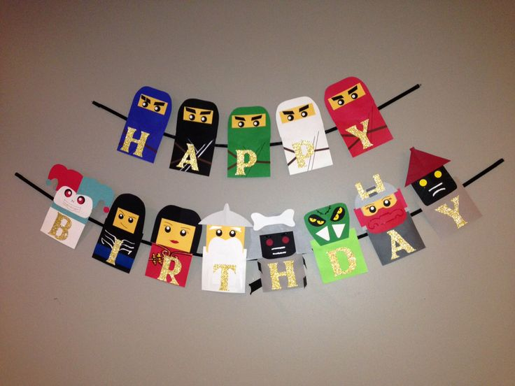 Lego Ninjago birthday banner, Ninjago birthday, Ninjago party, Nijago party decorations, Lego Ninjago party by Craftophologie on Etsy https://www.etsy.com/listing/164481919/lego-ninjago-birthday-banner-ninjago