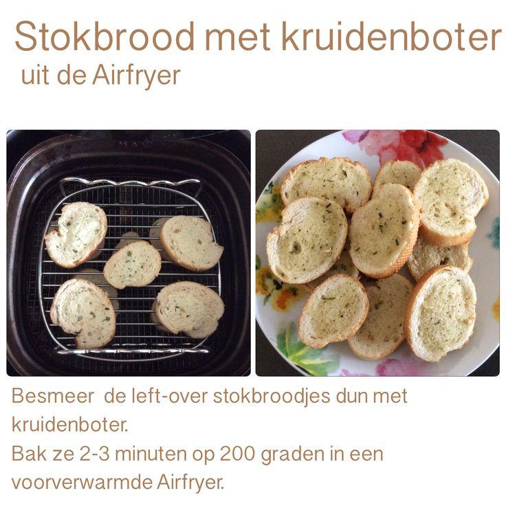 Stokbrood met kruidenboter uit de Airfryer. 2-3 minuten, 200 graden. AK
