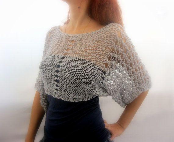 Algodón verano recortada suéter encogimiento de hombros de color gris claro, tejido a mano, respetuoso del medio ambiente