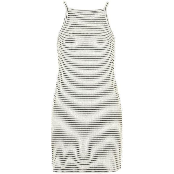 TOPSHOP Square Stripe Dress ($18) ❤ liked on Polyvore featuring dresses, vestidos, topshop, black, black strappy dress, black stripe dress, strappy dress, high neck dress and black strap dress