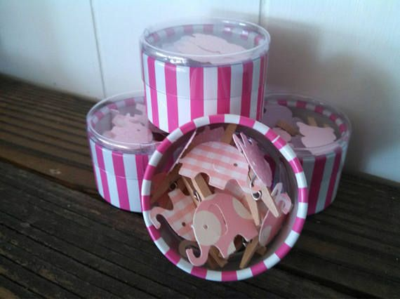 12 Pink Mini Elephant Clothes Pins Baby Shower Don't Say