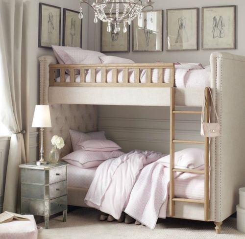 Soft and elegant choice for the transition from nursery to little girl's room. I love the idea of a collection of framed prints above the bed.