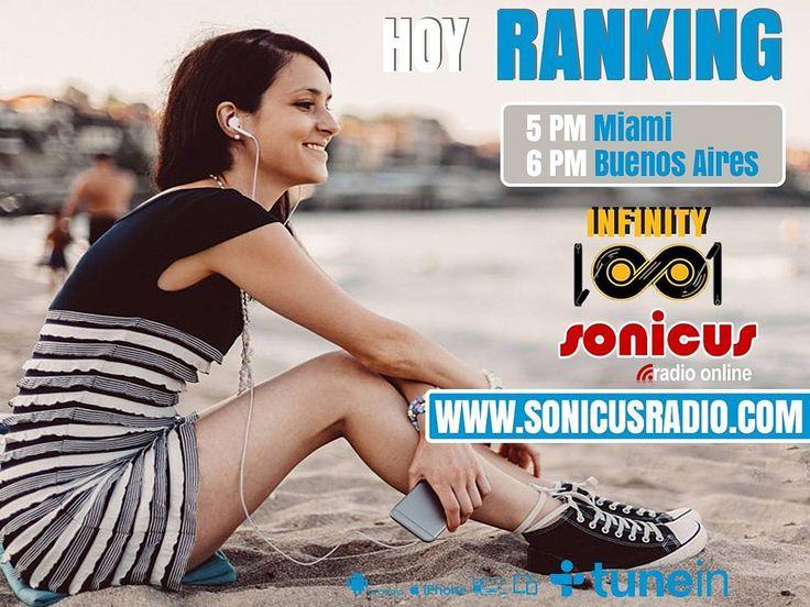 Llega el Ranking de la Radio con los mejores éxitos de la semana. www.sonicusradio.com #radio #online #music #musica #pop #hits #top  #followme #miami #latinos #hot #party #trendy #artistas #ranking #chart #show  #fashiongram #musicislife #ilovemusic #losangeles #newyork #celebrity  #dominicana #argentina  #tunein #Ranking