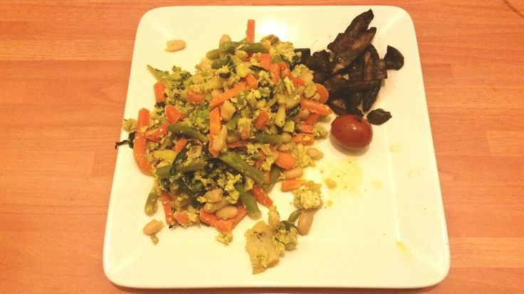 Mix veges with fried mushrooms  and cherry tomato