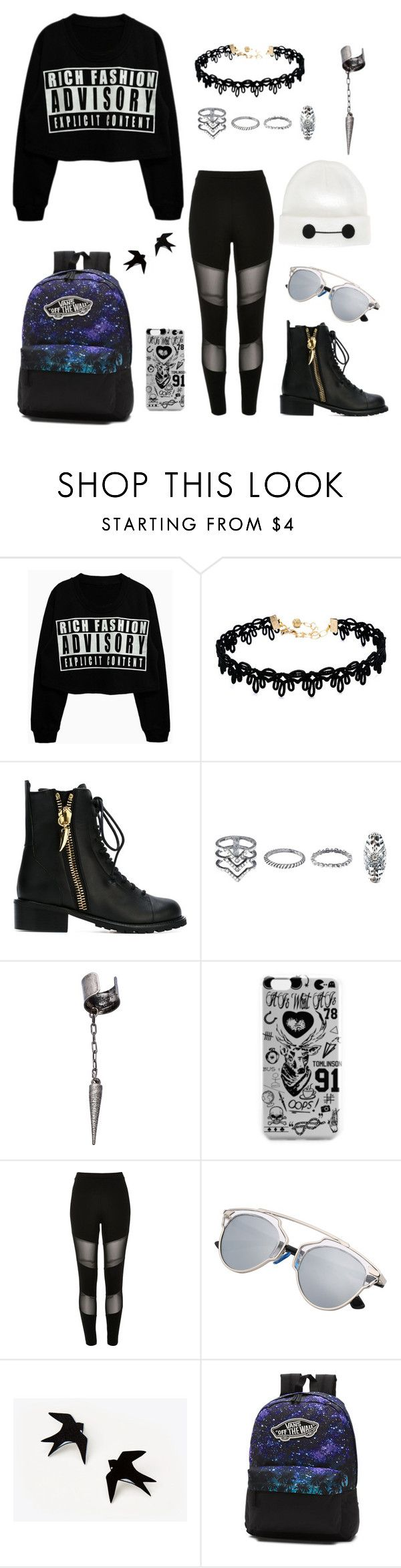 """""""Badass Outfit"""" by draw4me ❤ liked on Polyvore featuring Vanessa Mooney, Giuseppe Zanotti, New Look, Le Mos, River Island, Vans and Disney"""