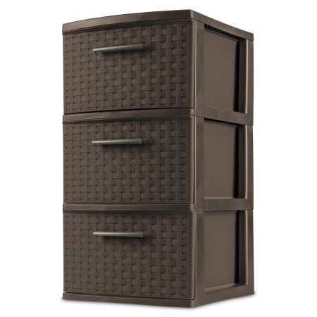 Sterilite 3-Drawer Weave Cart, Espresso (Available in Case of 2 or Single Unit), Brown