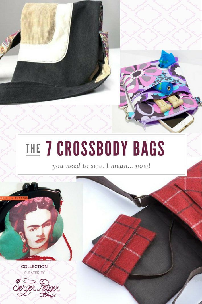 Wow! I love Crossbody Bags! And these are some my favorite PDF sewing patterns to sew them. The best part: you can go the refashion way, since they need a small amount of fabric!  As seen on SergerPepper.com