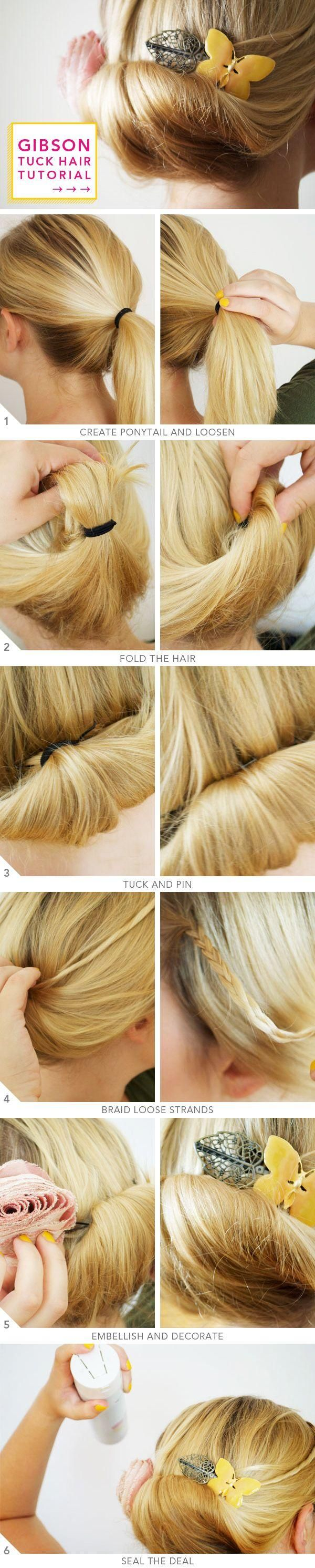 DIY Gibson Hair Tuck-- ponytail first makes the roll more likely to hold I think. Might want this for my hair...