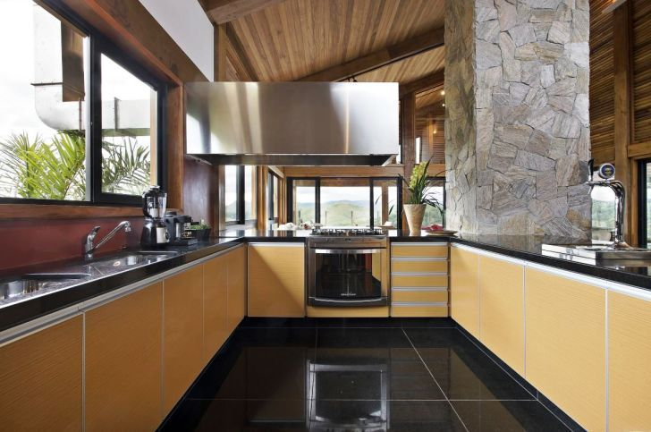 Cool Kitchen Design with Wood Cabinet and Dark Color Schemes you can see