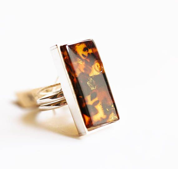Handmade Baltic Amber Ring 10g.