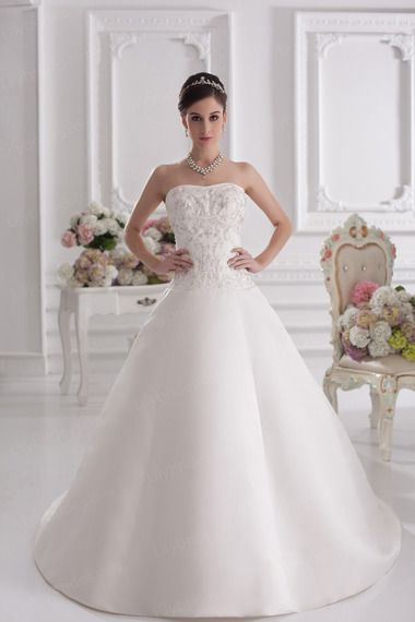 Ball Gown Strapless Satin Sweep/Brush Train Wedding Dress