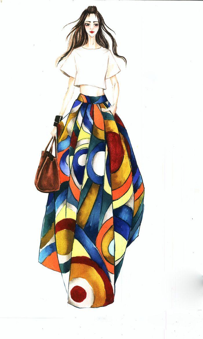 Las 25 mejores ideas sobre ilustraciones de moda en pinterest y m s bocetos de moda bocetos - Pinturas de moda ...