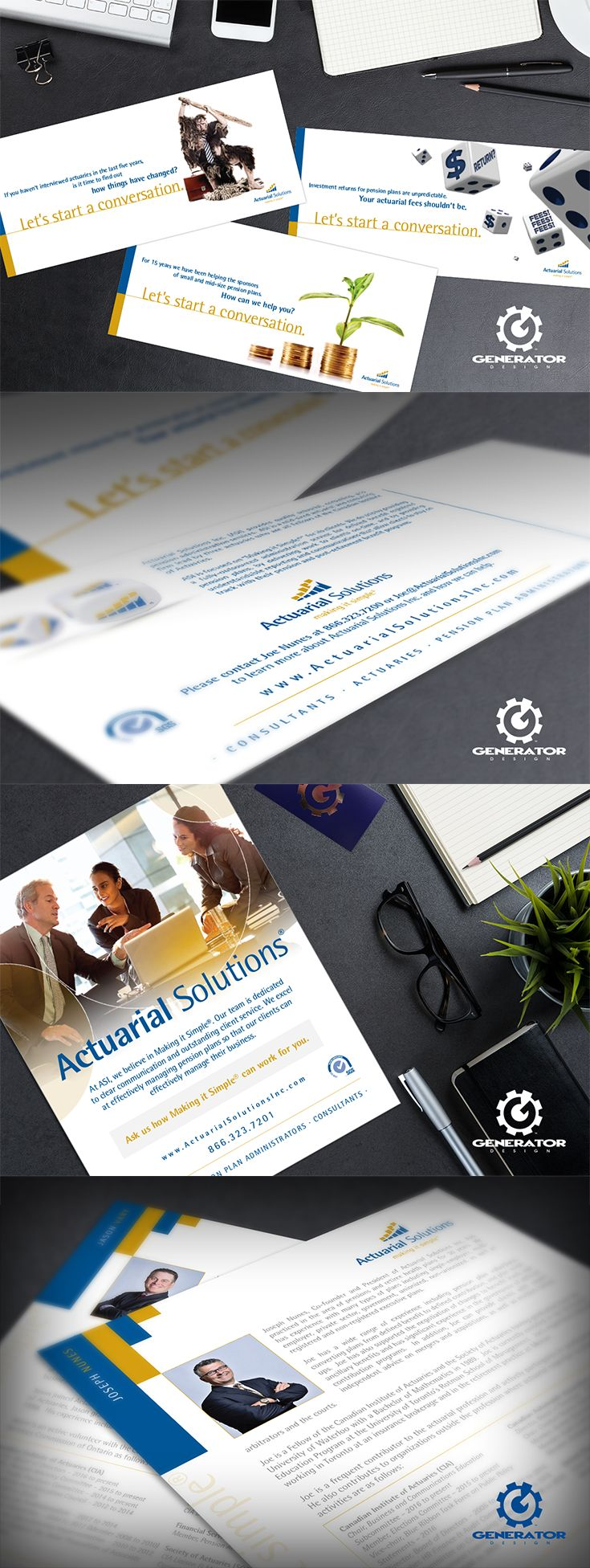 Actuarial Solutions Inc., whose focus is to offer defined benefit pension and retiree health programs, required informative pieces. We followed through with a clean, corporate direction, carrying their brand elements throughout mailers and ads, to boost brand awareness and attract new clients. Our goal was to make content easily digestible by enhancing paragraphs with their signature colours, and by supplementing with conceptual graphics to illustrate their services. #GeneratorDesign