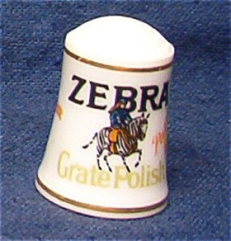 country+store+thimble+collection | ZEBRA GRATE POLISH THIMBLE FRANKLIN MINT (Image1)