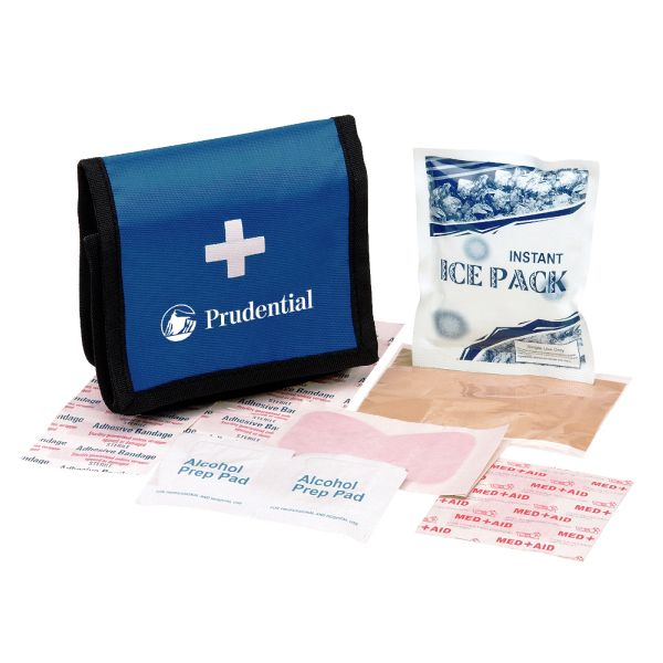 "Show how much you care with this customized 8 piece first aid kit with blue Velcro (R) case. Case includes two inner pockets and the kit includes 5 mini bandages, 5 regular bandages, large bandage, 2 alcohol pads, 2 small butterfly bandages, tweezers and an instant ice pack. It measures 4""x 4 1/2"" with an imprint area of 3"" x 1 1/2"" Conveniently comes packed in a blue Velcro(R) case, making this a perfect promotional product for hospitals!"