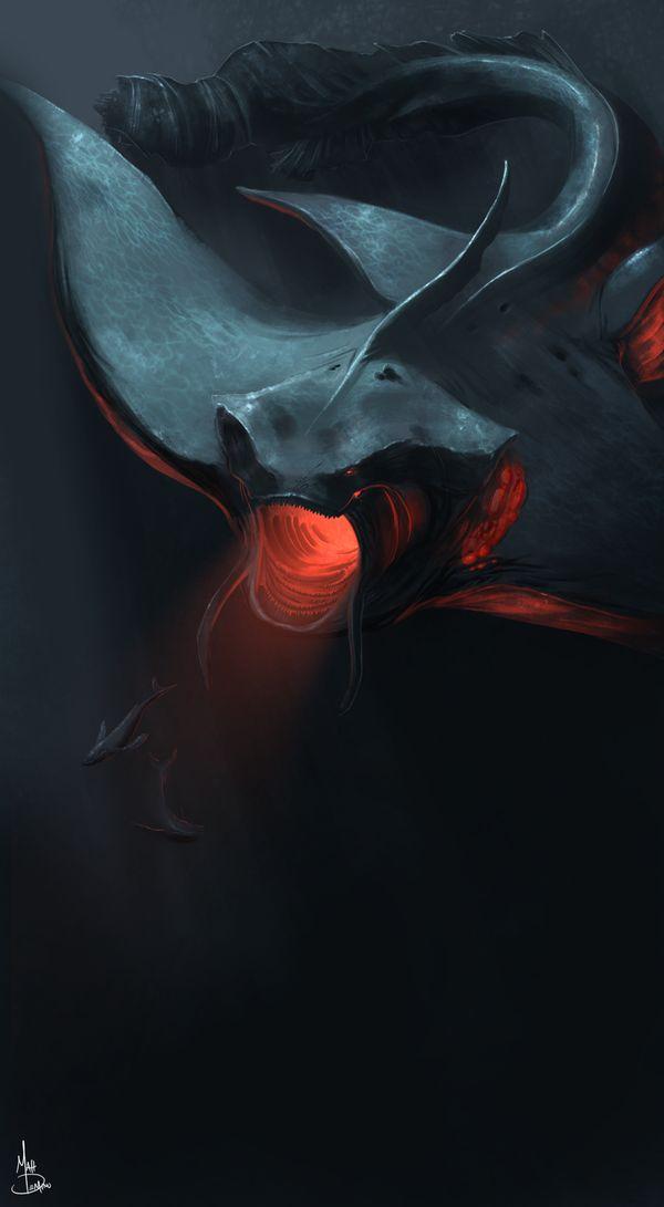 Timingila (Sanskrit for whale-swallower) a huge ancient aquatic creature, by MattDeMino