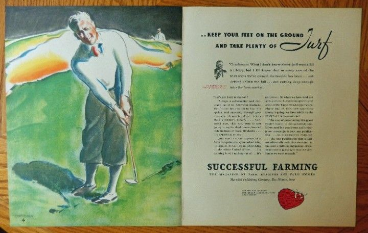 Successful Farming Magazine  original Print ad  Golf Player  rare 1934 Fortune Magazine art