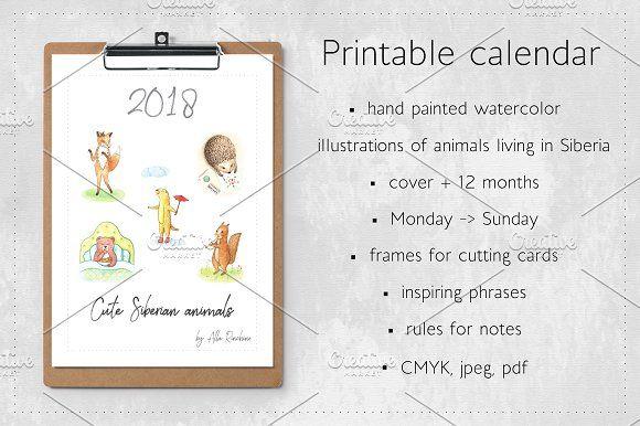 Calendar 2018 Cute Siberian Animals - Illustrations