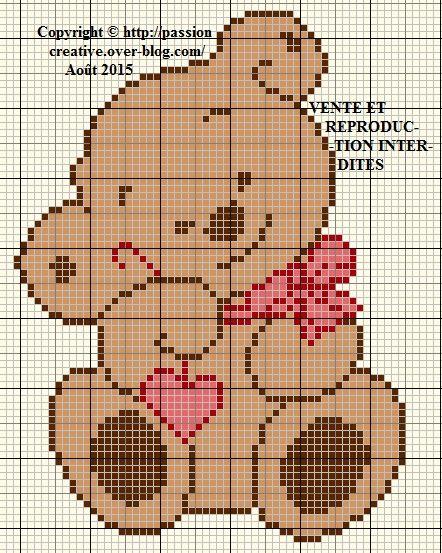 Grille gratuite point de croix nounours coeur et noeud rouge le blog de isabelle point de - Grille point de croix gratuite coeur ...