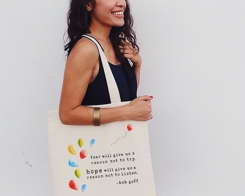 goff bag alyson by The Tote Project Handmade by rescued victims of trafficking in a fair trade certified factory in India. 100% organic cotton canvas printed with water-based, eco-friendly ink