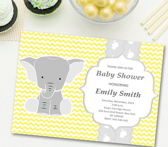 Elephant Baby Shower Invitation Boy Elephant by CutePaperStudio