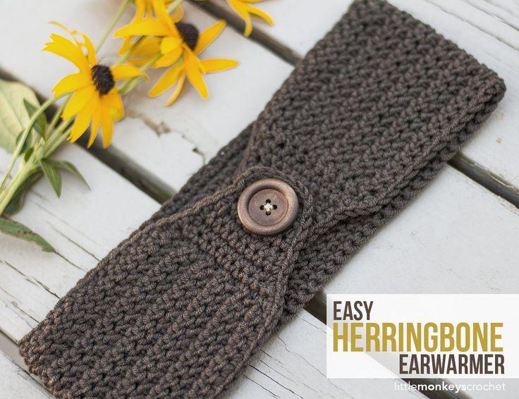 Easy Herringbone Earwarmer Crochet Pattern | Free button ear warmer pattern by…
