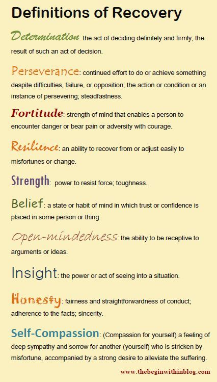 Characteristics & personality traits needed for recovery - what ever your illness or life experience