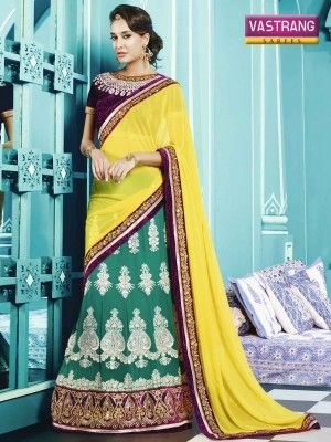 Yellow and Green Georgette saree with blouse