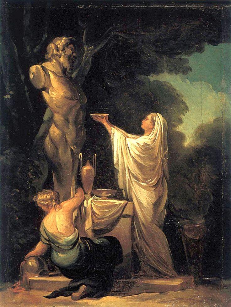"""Francisco de Goya: """"Sacrificio a Pan"""". Oil on canvas, 33 x 24 cm, c. 1771. Private collection"""