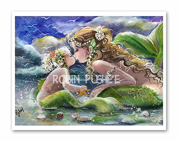 kissing mermaids, Mother and Child, ,Mermaid art POSTER SIZE PRINT