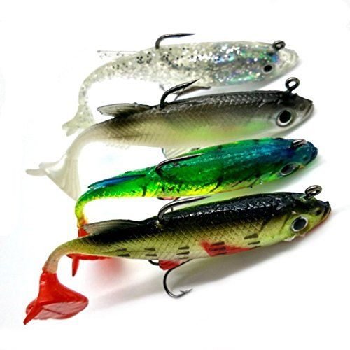 5pcs Soft Silicone Fishing Lure Hook Soft Bait Lead Jig Head Tackle 14g//8cm Hot