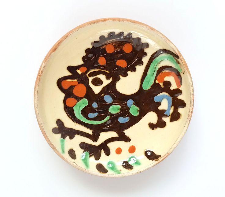 Buy now this traditional Horezu small decorative plate - Romanian authentic handmade folk art