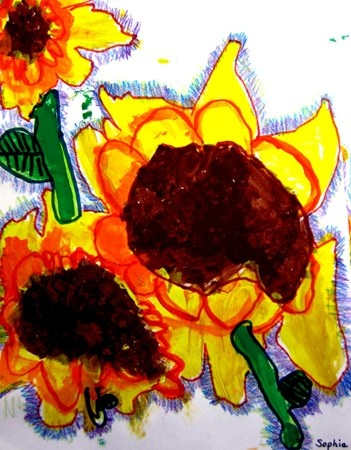 Artsonia Art Museum :: Artwork by Sophia5031  Kindergarten Van Gogh Sunflowers using tempera, markers and crayons
