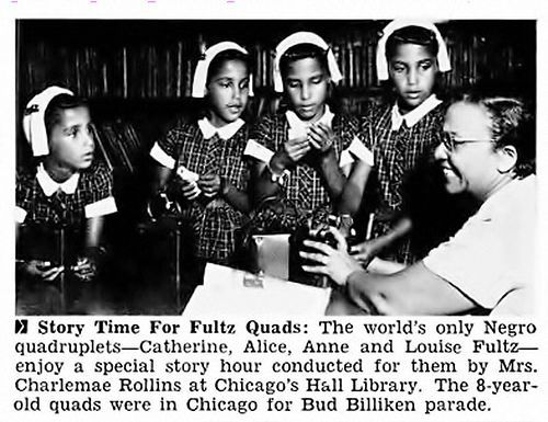 fultz quadruplets | The Fultz Quads at a personal Story Hour in Chicago, where they were ... | African american history, Jet magazine, Black history