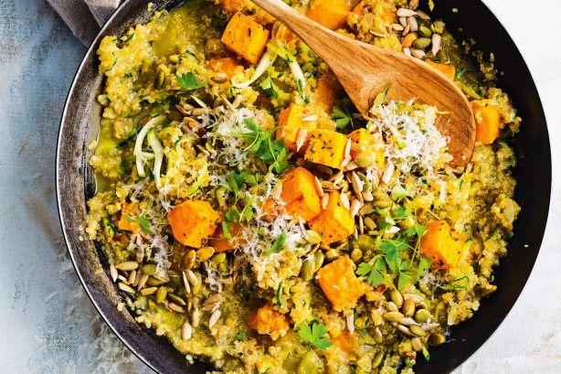 Quinoa risotto with roast chilli pumpkin - Your low calorie, gluten free superfood meal awaits - quinoa risotto with spicy roasted pumpkin. Get some.