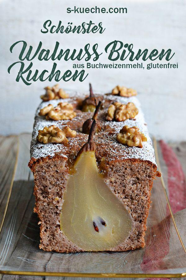 Für mich der schönste Walnuss-Birnenkuchen aller Zeiten. Oberlecker noch dazu. Der Teig besteht aus glutenfreiem Buchweizenmehl und geriebenen Wwalnüssen mit einem Hauch Zimt und Kardamom