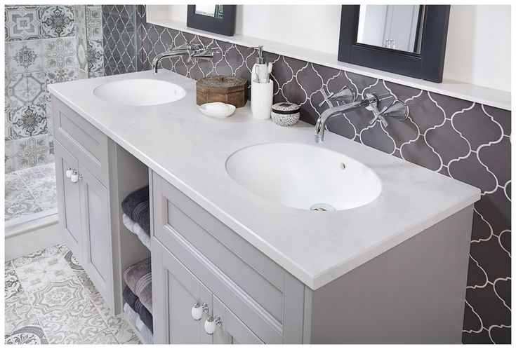 Twin solid surface basins integrated into the snowstorm worktop #Roseberry #paintedtimber #bathroomfurniture #myutopia