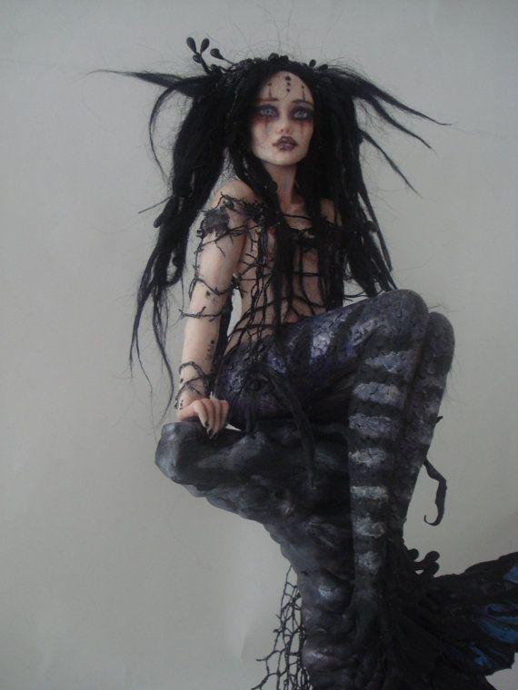 Realistic Mermaid Artwork | SHADOWSCULPT OOAK MERMAID goth fairy one of a kind art doll realistic ...