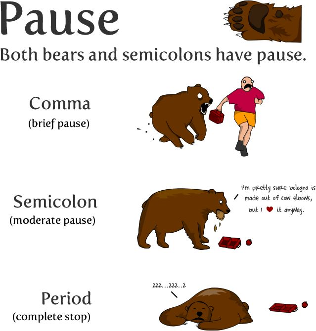 I've spent my afternoon learning the correct usage of the semicolon from The Oatmeal. Semicolons are wonderful. This was my favourite part.