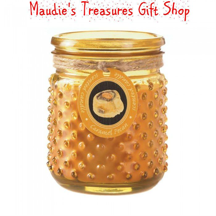 Caramel Pecan Hobnail Jar Candle 16 oz #candle $13.95 #a great way to get your home smell like you are baking a caramel pecan dessert in your oven. #sale now #100 hours #sale ends 10 - 31 - 17 www.maudiestreasuresgiftshop.com