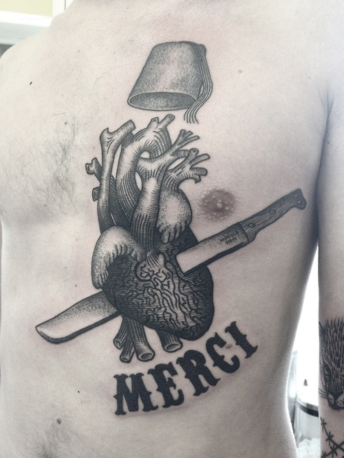 merci, stabbed through the heart by rafel delalande #chest #tattoos