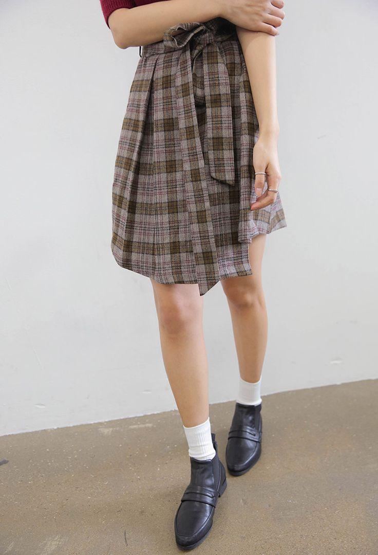オーソドックスタータンチェックミニラップスカート   レディース・ガールズファッション通販サイト - STYLENANDA