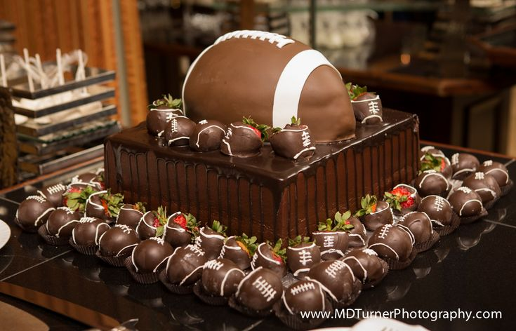 Football shaped groom's cake - Houston wedding photography - MD Turner Photography