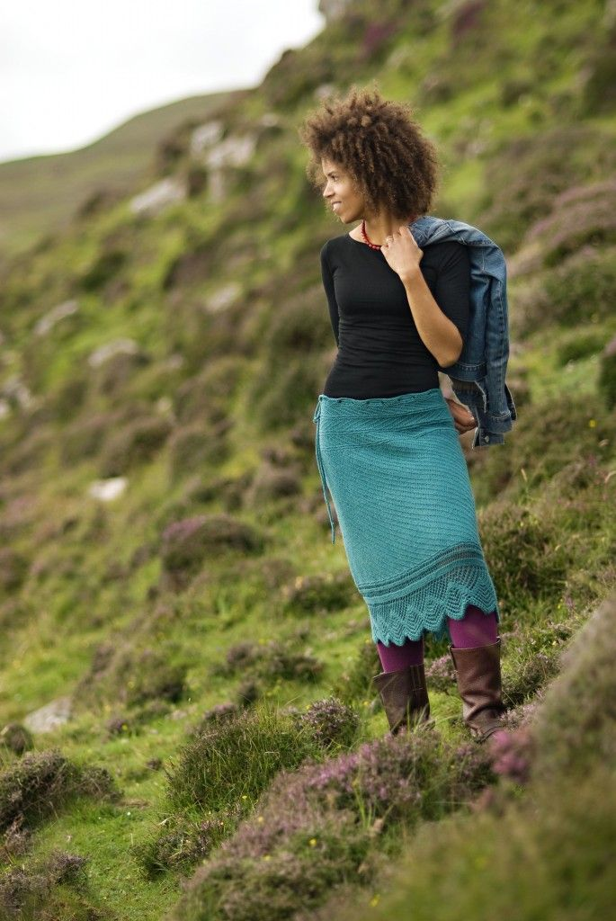 Knitted pencil skirt in a lovely teal shade