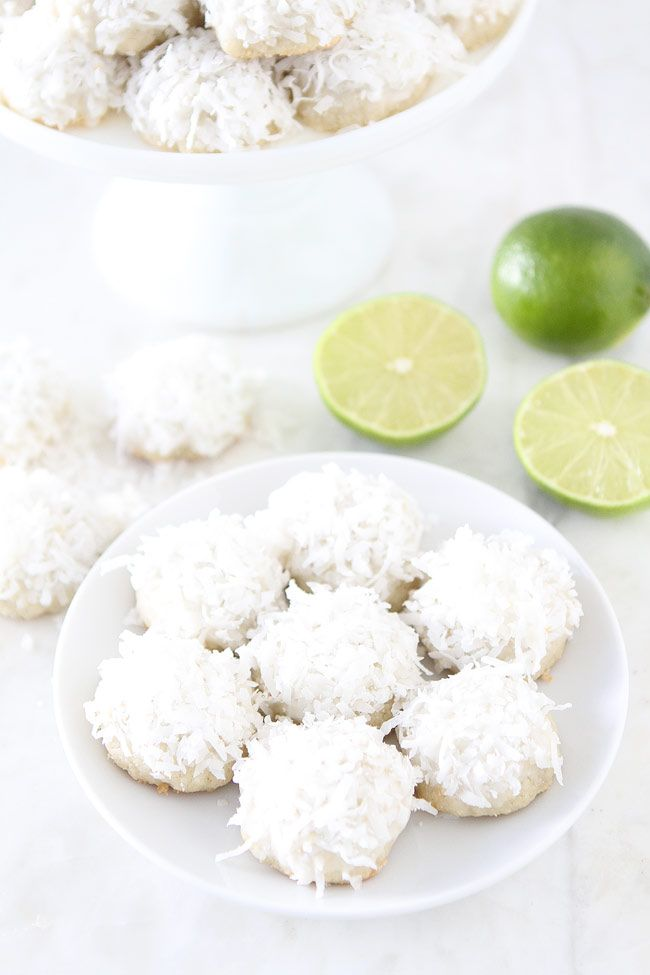Lime Coconut Snowball Cookie Recipe on twopeasandtheirpod.com These are our FAVORITE cookies. The coconut lime combo is perfection!